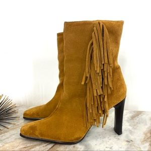 Predictions | Tan Leather Fringe Heeled Boots
